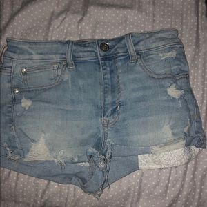 light washed american eagle jean shorts